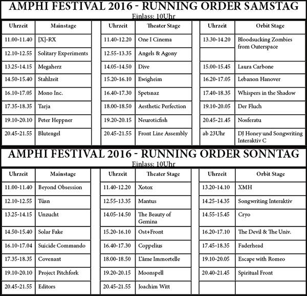 Amphi Festival 2016 - Running Order
