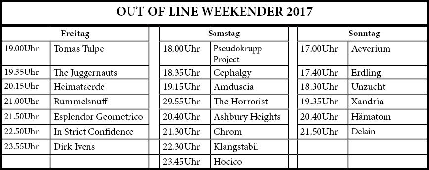 Out of Line Weekender 2017 - Running Order